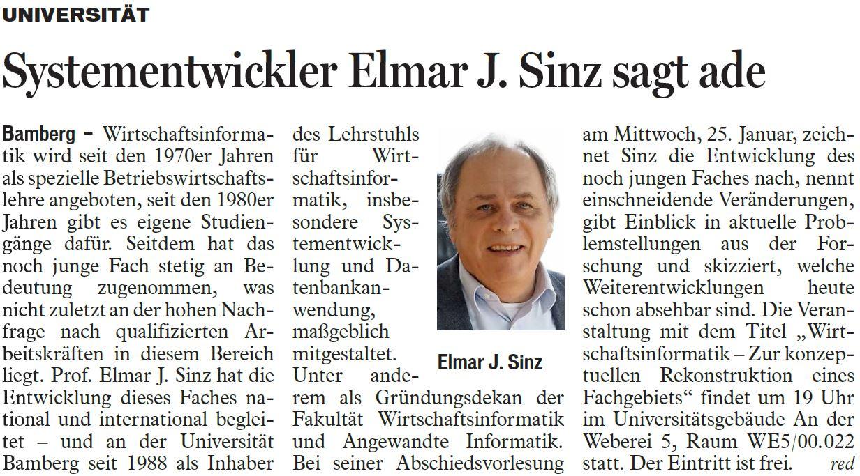 Systementwickler Elmar J. Sinz sagt ade
